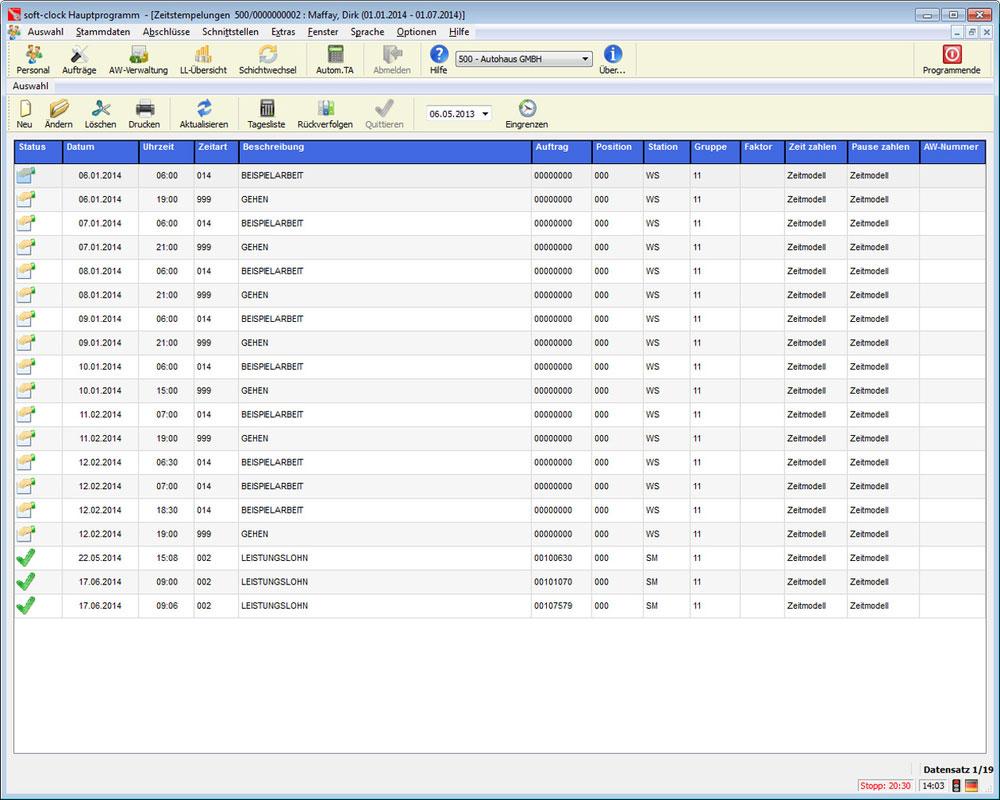 time recording software in car dealerships and workshops